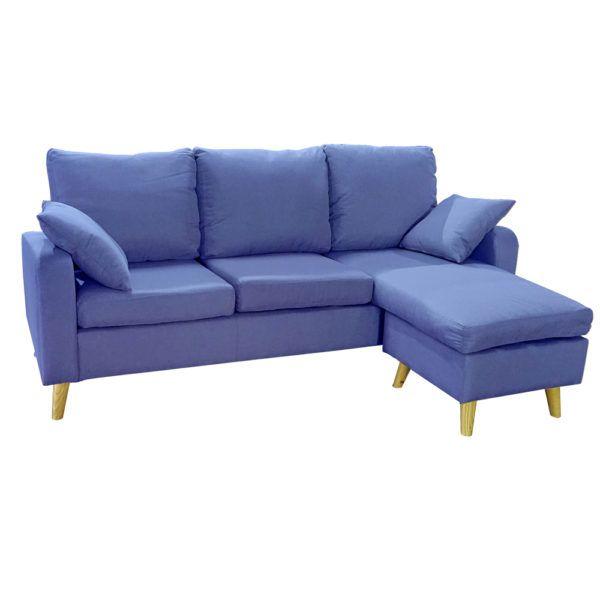 Sofa Chaise Longue con Puff Movible