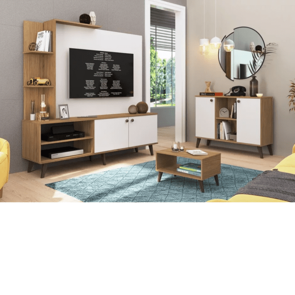 Rack Modular Para Tv Estantes Led Living Linea Retro