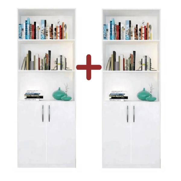 2 Estanterias Biblioteca C/puertas Multiuso 5 Estantes