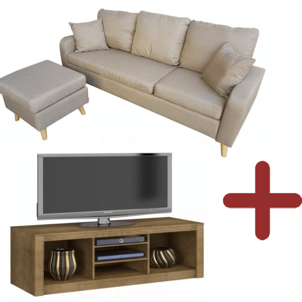 Sillon 3 Cuerpos Tela Chaise Sofa + Puff Movible + Rack Tv