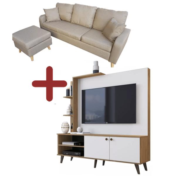 Sillon 3 Cuerpos Tela Chaise+ Puff Movible + Modular