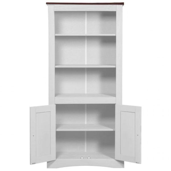 Biblioteca Modular 4 Puertas Madera Maciza Blanca Rustica
