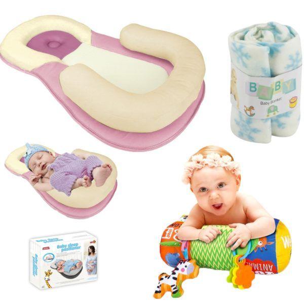 Almohadón+ Colchón Posicionador + Frazada Bebes Infantil