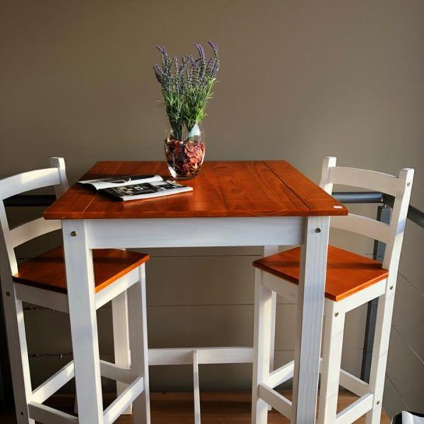 Mesa Desayunador + 2 Banquetas Madera Maciza