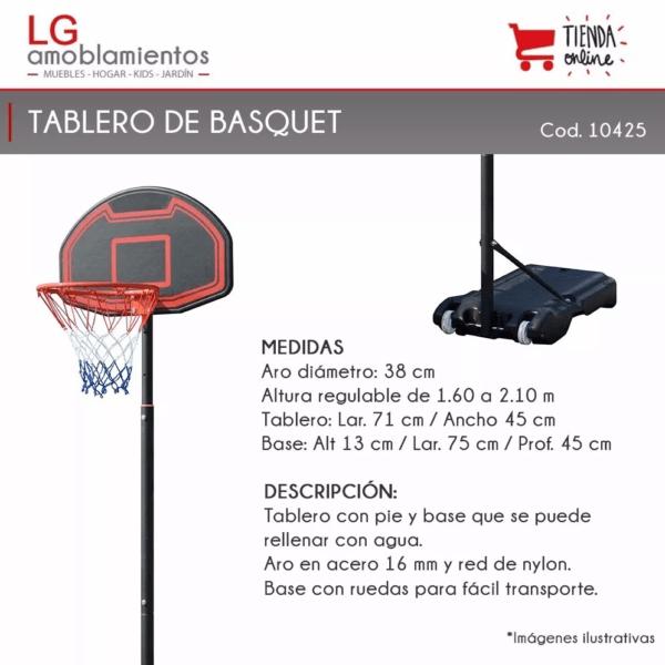 Tablero Basketball Altura Regulable – Aro Basquet