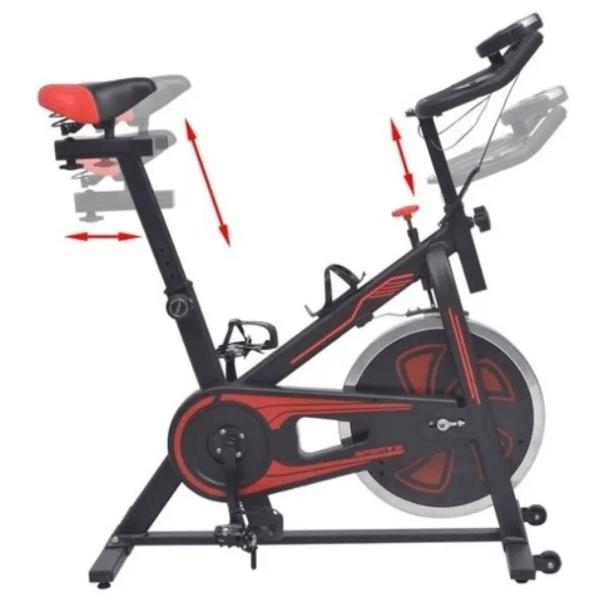 Bicicleta De Spinning Con Sensores Roja Y Negra