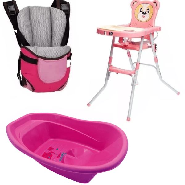 Silla De Comer Bebé Plegable Oso+ Marsupio + Bañito Baño