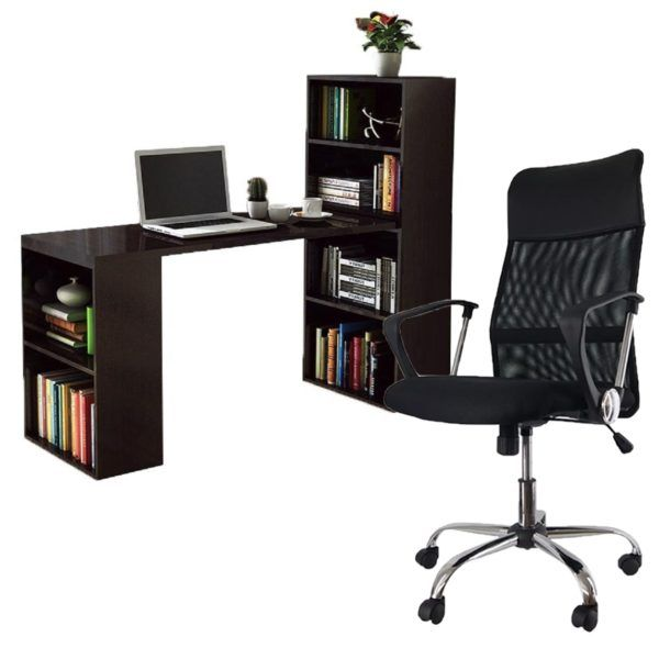 Escritorio Mesa De Pc Con Estantería + Silla De Oficina