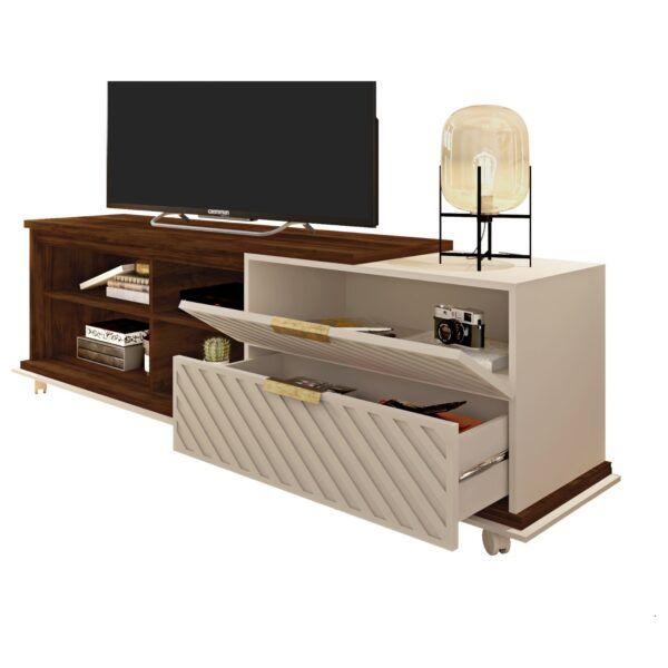 Rack Mueble De Tv Puerta Y Cajón Estantes Living