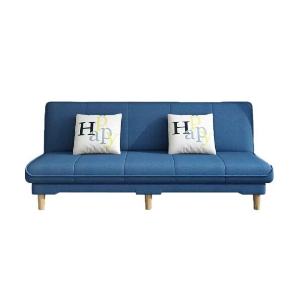 Sillon Sofa Cama De Tela + 2 Almohadones Patas De Madera